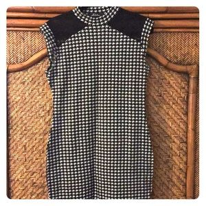 Houndstooth sweater dress with lace insets